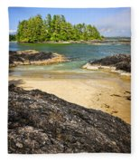 Coast Of Pacific Ocean On Vancouver Island Fleece Blanket
