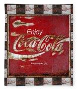 Coca Cola Signs Fleece Blanket