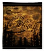 Coca Cola Wooden Sign Fleece Blanket