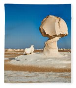 Cock And Mushroom Formation In White Desert Fleece Blanket