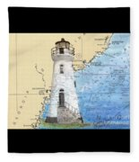 Cockspur Island Lighthouse Ga Nautical Chart Map Art Cathy Peek Fleece Blanket