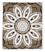 Coffee Flowers 8 Olive Ornate Medallion Fleece Blanket