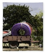 Coils Of Thick Plastic Pipe On A Carrier Wagon Fleece Blanket