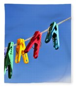 Colorful Clothes Pins Fleece Blanket