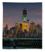 Construction Of The Freedom Tower Fleece Blanket