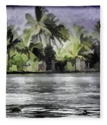 Cottage With Greenery All Around Fleece Blanket