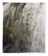 Curtain Of White Water Falling From Rocky Cliff Fleece Blanket