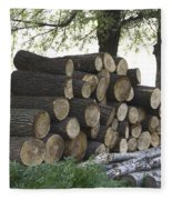 Cut Tree Trunks Piled Up For Further Processing After Logging Fleece Blanket