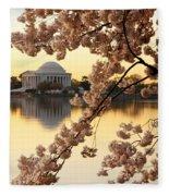 Dawn Over The Jefferson Memorial  Fleece Blanket