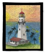 Diamond Head Lighthouse Hi Nautical Chart Map Art Fleece Blanket