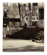 Digging A Ditch At The Side Of A Road In Roorkee Fleece Blanket