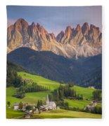 Dolomites From Val Di Funes Fleece Blanket