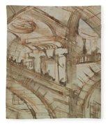 Drawing Of An Imaginary Prison Fleece Blanket