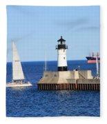 Duluth Mn Harbor Fleece Blanket