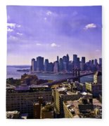 Dumbo View Of Lower Manhattan Fleece Blanket