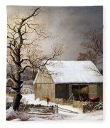Durrie's Winter In The Country Fleece Blanket
