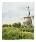 Dutch Landscape With Windmills Fleece Blanket