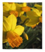 Dwarf Cyclamineus Daffodil Named Jet Fire Fleece Blanket