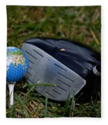 Earth Golf Ball And Golf Club Fleece Blanket
