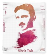 electric generator patent art Nikola Tesla Fleece Blanket