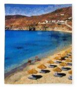Elia Beach In Mykonos Island Fleece Blanket