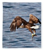 European Fishing Sea Eagle 4 Fleece Blanket