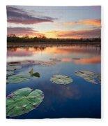 Everglades At Sunset Fleece Blanket