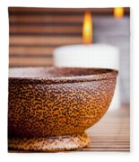 Exotic Bowl And Candles Fleece Blanket