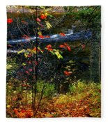 Fall Forest And River Fleece Blanket