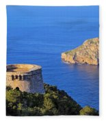 Famous Tower Of Savinar On Ibiza Island Fleece Blanket