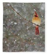 Female Cardinal In Snow Fleece Blanket