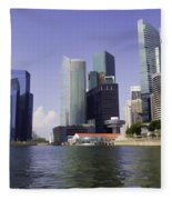 Financial District Of Singapore And View Of The Water In Singapore Fleece Blanket
