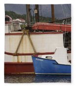 2 Fishing Boats At The Dock Fleece Blanket