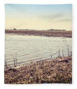 Flooded Farmland Fleece Blanket