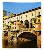 Florence Italy Ponte Vecchio Fleece Blanket