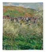 Flowering Plum Trees Fleece Blanket