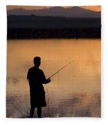 Fly Fishing At Sunset Fleece Blanket