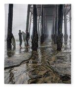 Fog At The Pier Fleece Blanket