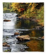 Forest River In The Fall Fleece Blanket