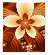 Fractal Fantasy Flowers Fleece Blanket