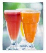 Fresh Orange Carrot And Watermelon Fruit Juice Fleece Blanket