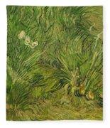 Garden With Butterflies Fleece Blanket