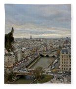 Gargoyle Overlooking Paris Fleece Blanket