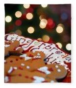 Gingerbread Cookies On Platter Fleece Blanket