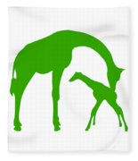 Giraffe In Green And White Fleece Blanket