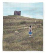 Girl With Sheeps Fleece Blanket