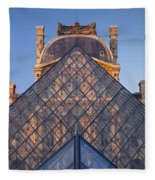 Glass Pyramid At Musee Du Louvre Fleece Blanket