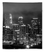 Gotham City - Los Angeles Skyline Downtown At Night Fleece Blanket