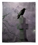 Surreal Crow In Gothic Purple Sky Fleece Blanket