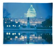 Government Building Lit Up At Night Fleece Blanket
